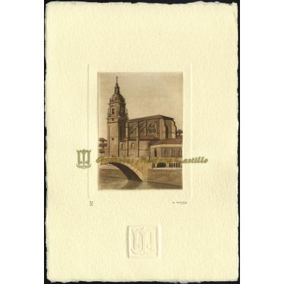 Iglesia gótica de San Antón con la ría de Bilbao