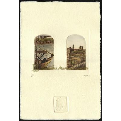Barco Rabelo y sé Porto con Torre dos Clérigos