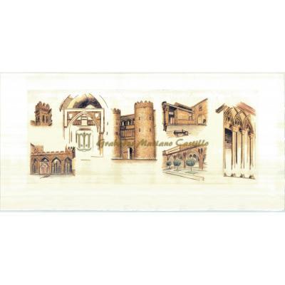 Esbozos del palacio de la Aljafería