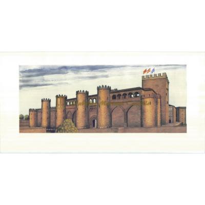 Vista frontal del Palacio de la Aljafería